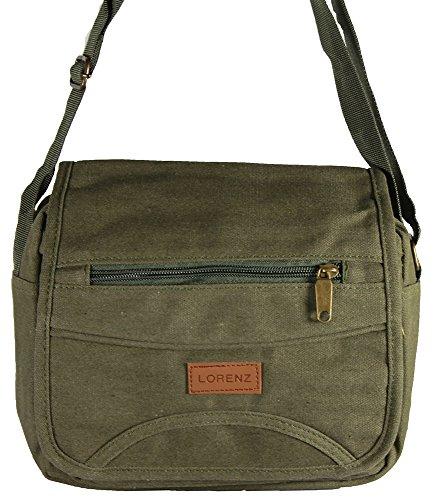 Unisex Herren Damen Canvas-Schultertasche/Messenger Bag, Umhängetasche, mit Reißverschluss Grün - Grün