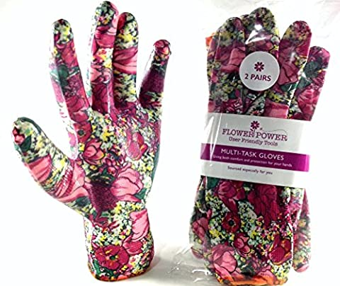 2 Pairs Ladies Gardening Gloves - Lightweight and Durable Work Gloves for Women - Perfect For Garden and Household Tasks - Best Gardening Gift for Women. Buy on Sale NOW (Small, Rose Garden Floral)