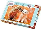 TREFL 16264 Puzzle 100 Pieza(s) - Rompecabezas (Animales, Niños, Dog, Cat, Chica, 5 año(s), Cartón)