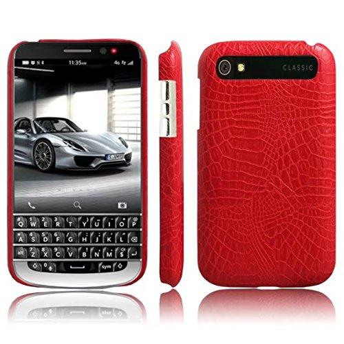 CHENJUAN Ultradünne Klassische Krokodilleder-Beschaffenheit PU-Leder Kratzfeste PC-Hartschalenabdeckung für BlackBerry-Klassiker Q20 (Farbe : Rot) (Blackberry-klassiker)