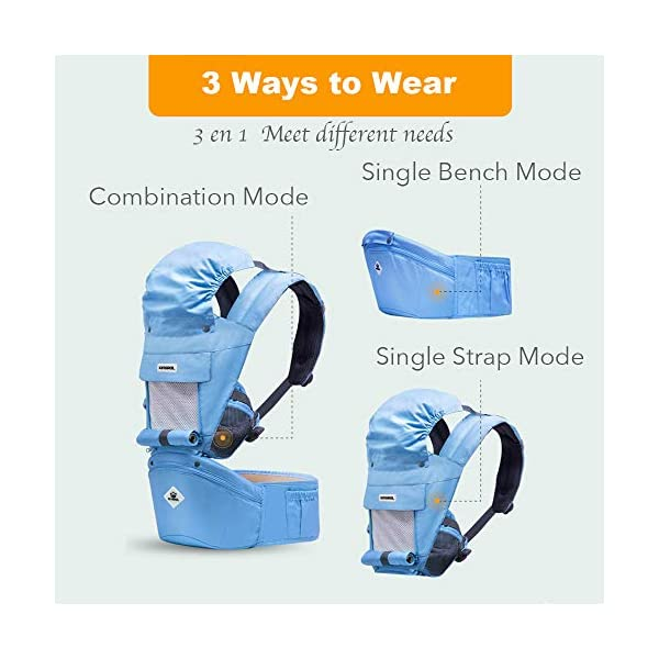 Rufun Baby Carrier Hip Seat Ergonomic Storage Box for Newborn Front and Back Breastfeeding Handsfree 0-48 Months up to 25kg Rufun 【Designed for Baby's Safety】Ergonomic baby carrier is all parents' pursue. The hip seat is designed according to baby's develoment. 【Can be a Storage Box】With the hollowed-out structure, our sturdy hip seat can be used as a storage box and the baby won't feel muggy sitting on it. 【Newly Designed Hip Seat】Our seat is made of eco-friendly PP (Polypropylene), no smell and in hollowed-out structure. 2