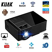 KUAK Android Projector,1500 Lumens LED Mini Portable Smart Video Projector Bluetooth WIFI 1080P Full HD Support Airplay TV DVD PC Smartphone with HDMI USB SD VGA AV for Home Cinema Entertainment