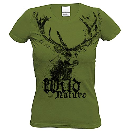 Damen Trachtenshirt : Wild Nature : Kurzarm Trachten T-Shirt mit Hirsch Motiv Oktoberfest Volksfest Wiesn Tracht Ersatz Farbe: khaki Gr: L