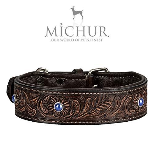 MICHUR Antonio Hundehalsband Leder, Lederhalsband Hund, Halsband, BRAUN, Leder, mit blauen Steinchen, Blau, in verschiedenen Größen erhältlich