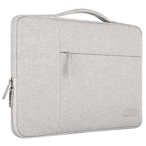 MOSISO Tasche Sleeve Hülle Kompatibel 15-15,6 Zoll MacBook Pro, Notebook Computer Multifunktionshülsen Spritzwasserfest Laptoptasche Handtaschen mit zusätzlichem Stauraum Polyester Schutzhülle, Grau