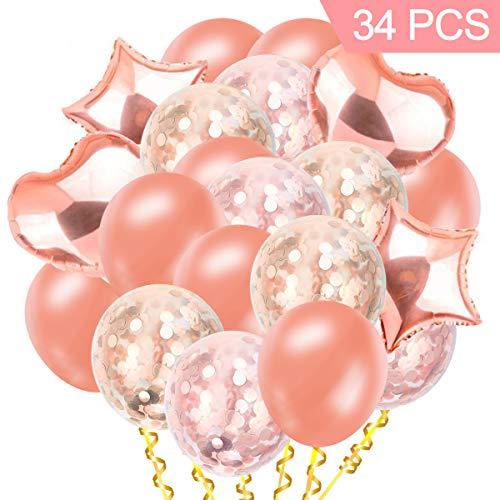 AMEHOM Globo de Confeti, Globos de Oro Rosa de látex, Globos de Papel y Estrella de Globo, Globo de Aire Transparente Fiesta de cumpleaños de Oro Confeti, Compromiso de Boda, Baby Shower