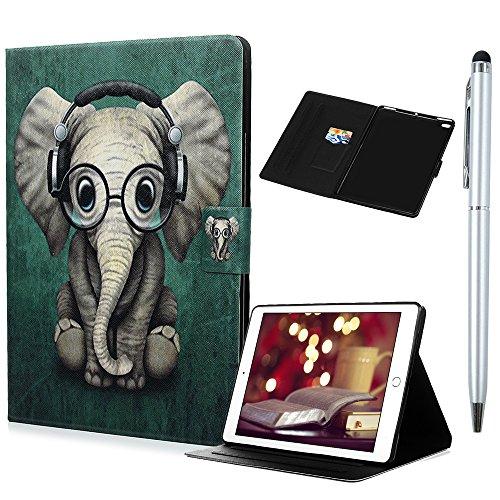 Case für iPad Air/iPad Air 2/iPad 2017 9.7 Zoll Hülle Lederhülle Hören Sie Kopfhörer Elefanten Wallet Flip Case Kunstleder Ständer Cover Tasche Schutzhülle mit Auto Aufwachen/Schlaf Funktion