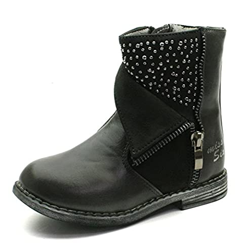 MS014 Miss Sixty Zipup Baby Boot with Studding Detail High for Girls in Grey Taille 29