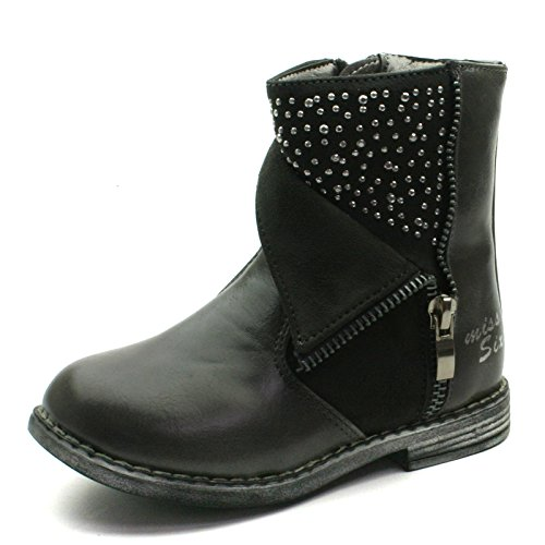 MS014 Miss Sixty Girls High Zipup Baby Boot with Studding Detail in Grey Taglia 27