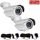 VideoSecu 2 x Bullet 700TVL High Resolution Built-in 1/3'' Sony Effio CCD Zoom Day Night Outdoor 42 Infrared LEDs 4-9mm Varifocal Lens Security Cameras for CCTV with Power Supplies and Cables WTN