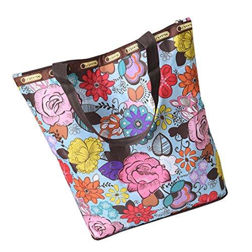 BZLine® Frauen Leinwand Große Kapazitäts-Segeltuch-Strand-Tasche Handtasche C