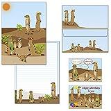 Briefblock - Mappe - Erdmännchen - 1 Schreibblock DIN A4 liniert + 15 Briefumschläge DIN lang + 2 Postkarten 7230+692-15M