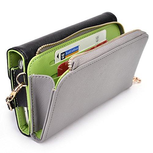 Kroo d'embrayage portefeuille avec dragonne et sangle bandoulière pour Huawei Ascend G620s Multicolore - Black and Orange Multicolore - Noir/gris