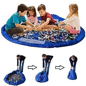 Busta per giocattoli, organizzatore con coulisse Lego tappeto Toocoo spalla oversize tappetino impermeabile per picnic e giochi per neonati (verde) Blue