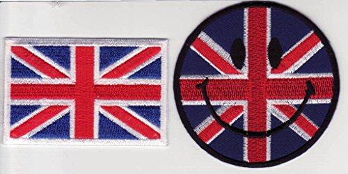 b2see Fahnen Flagge Aufnäher Patches Set für Jacken Jeans Kleidung Bügelbilder Flicken Stoff Patch Kleider Patches Aufbügler Applikation Aufnäher zum aufbügeln  2 er Set Union Jack 7-8 cm