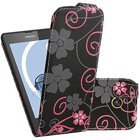 iTALKonline Nokia Lumia 520 / 525 NERO ROSA FIORE Easy