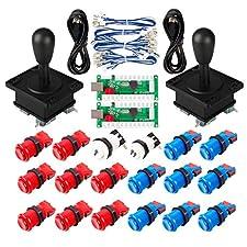 EG STARTS Arcade Game Parti Mame USB Cabinet USB Encoder to Arcade Joystick 18x Happ Arcade Push Button Kit Colore Blu + Rosso