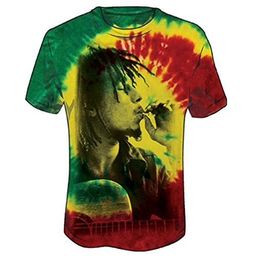 Bob Marley-tie Dye (Bob Marley Side Profile Smoke Rasta Tie-Dye T-Shirt - Mehrfarbig - XX-Large)