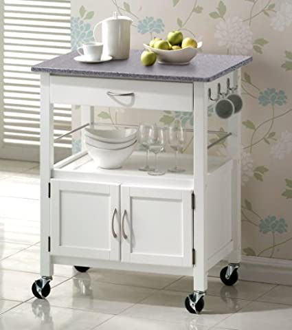 York White Painted Hevea Hardwood Kitchen Trolley Island With Grey Granite Top Large Island Cart