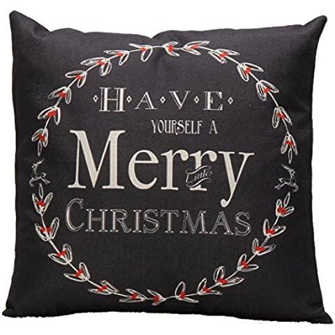 GillBerry 1PC Vendimia Navidad Carta Sofá cama decoración del hogar Festival Funda de almohada Amortiguar Cubrir (negro)
