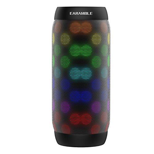 Earamble LED Bluetooth Lautsprecher,10Watt, Portabel, Bluetooth 4.2, Hifi Stereo Sound, Wasser Spritzwassergeschützt, eingebautes Mikrofon, unterstützt alle Mobiltelefone, Laptop, SD Slot, Computer (schwarz)