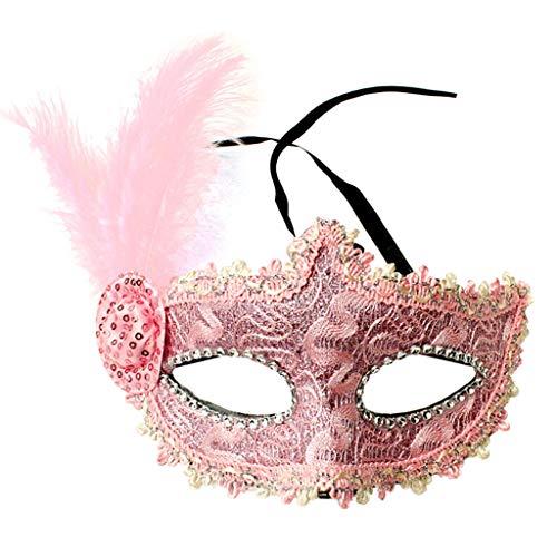 Mask- Kinder Maskerade Feather Maske Half Face Erwachsene weibliche Prinzessin Feather Side Hood mit flauschigen Gesicht (Farbe : D)