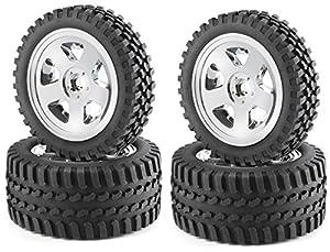 Carson 500900028 - 1:10 Neumáticos / Llantas Set All Terrain, Accesorios Modelo, Cromo