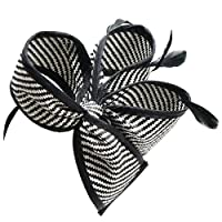 Lawliet Womens Sinamay Fascinator Cocktail Wedding Derby Tea Party Hat Headband (Black with White)