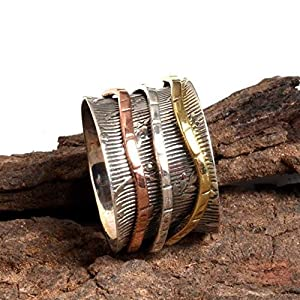 Meditationsringe, Spinnerringe, Silberringe für Frauen, Spinning Ring for Women, Spinner Textured Band Rings, Anxiety Ring for Meditaion, 925 Sterling Silver Band, Brass and Copper Spinner Ring
