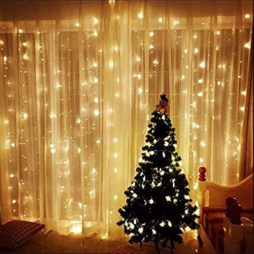 AGM 300er Led Lichtervorhang 3X3 Meter Globe Lichterketten Innen Vorhang Licht Outdoor Wasserdichte LED Leuchte für Weihnachten DekorationParty, Hotel,Festival...(Warmweiß)