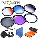 K & F Concept 55mm Kit de filtre de lentille Ensemble accessoire UV CPL polarisant circulaire FLD + gradué Orange Bleu gris + Lens Hood Cap + chiffon de nettoyage pour Sony A37A55A57A65A77A100