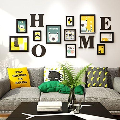 Nwn Foto da Parete Foto Wall Photo Frames Cartoon Wall Europeo Cornici Stile Europeo Wall Wall Ornament Camera da Letto Legno Creative Frame Wall (Coloreee   Nero, Dimensioni   10 Frames) b09d94
