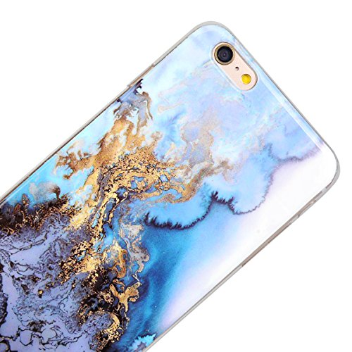 GrandEver iPhone 6S Plus Hülle, iPhone 6 Plus Hülle Marmor Weiche Silikon TPU Bumper Gel Schutzhülle Rückschale Klar Handytasche Anti-Kratzer Stoßdämpfung Ultra Slim Rückseite Silicon Backcover Soft C Blau