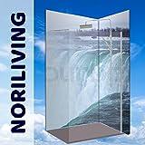 Original NORILIVING Eck-Duschrückwand -Wasserfall Niagara, fugenlos, kostenloser Zuschnitt auf Ihre Wunschmaße, Rückwand, Bad-Verkleidung, Wandbild, Dekor, Alu-Verbundplatte, Fliesenersatz, schimmelfrei… (Aluminium, 90 x 200 x 0,3 cm), jegliche Größen möglich