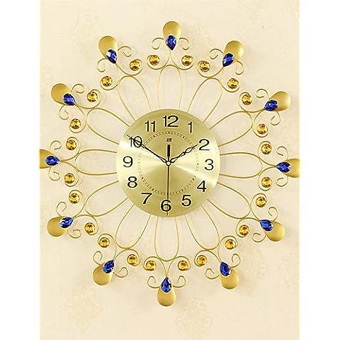 Da Wu Jia wall arte moda creatività metallo dorato Mute Orologio da parete