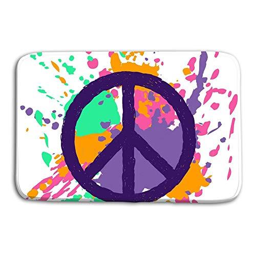 Mbefore Paillasson Signe de Paix en Plein air en Plein air sur Fond coloré Grunge Pinceau Abstrait éclabousse Tapis de Symbole Hippie Amour 16inch * 24inch, 40cm * 60cm