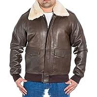 Uomo marrone Bomber A-2 Pilota Aviatore giacca Di Pelle con collo Di pelliccia Di pecora