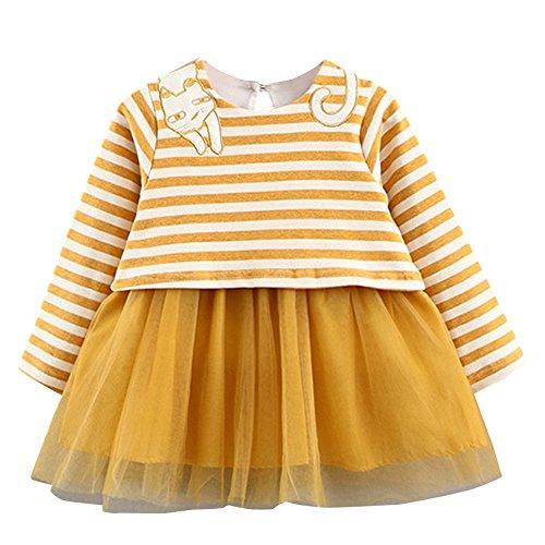 Baby bekleidungMädchenkleider❤️JYJM Mädchen Winter Prinzessin KleidKleinkind Kinder Baby Mädchen Herbst Langarm Prinzessin Kleid Outfits Kleidung (Größe: 12 Monate, Gelb) (Weihnachts Tanz Kostüm Ideen)