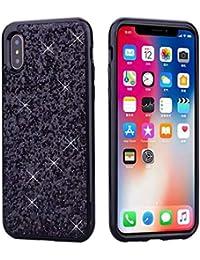 Nadoli Glitzer Hülle für iPhone Xr (6,1 Zoll),Schwarz Glänzend Funkeln Bling Ultradünn Tasche Handyhülle Schutzhülle für iPhone Xr (6,1 Zoll),Schwarz