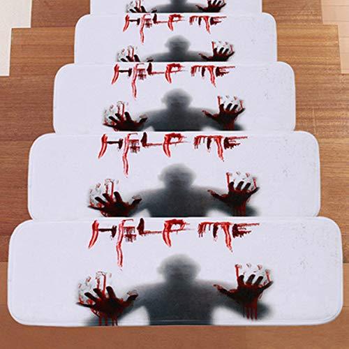 Bluelover 66,5 * 23 cm Halloween Design Stair Pad Rutschfeste Teppich Küche Badezimmer Bodenmatte