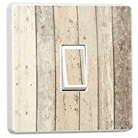Rustic Shoreline Timber Cladding Wood Effect Light Switch Sticker [Generic Single] by stika.co