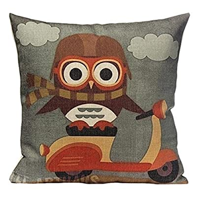 43cm x 43cm Square Cotton Linen Cushion Cover Cute Owl Cartoon Printed Decorative Throw Pillow Case