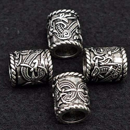QZY 4Pcs Norse Viking Beard Perlen & Haarperlen Frauen Männer DIY Ornament-3 Style Zink Alloy,A (Ornamente Diy Klare)
