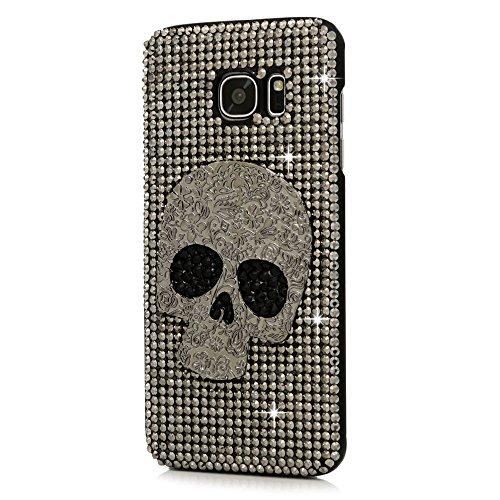 Samsung Galaxy S6 Edge Hülle, Sense TE Strass [3D Handgefertigt] Diamant Serie Bling Schutz Handy Tasche Kristall Transparent Case Cover Hülle mit Retro Anti Staub Stecker - Großer Schädel / Silber (Schädel-womens Licht)