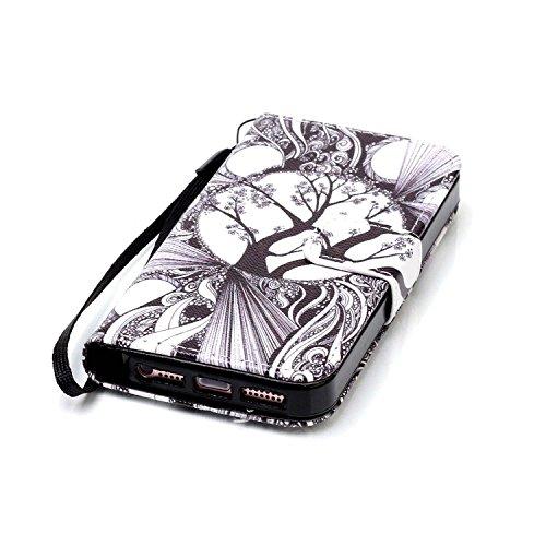 MOONCASE IPhone 5 / 5S / iPhone SE Étui, [Dreamchaser] Dessin Motif Bookstyle PU Cuir Flip Housse Etui à rabat Portefeuille TPU Case Cover avec Strap Lanière pouriPhone 5G / 5S / SE Tree