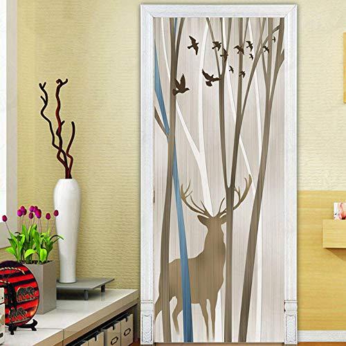 QMTZDQ TürPoster Baum Elch Tür Aufkleber Flip Tür Aufkleber Schlafzimmer Wohnzimmer Wandaufkleber Türtapete - Flip-tür