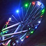 Red : 20 LED Bike Wheel Lights Waterproof Colorful Bicycle Lights Bike Lamp Cycling Wheel Spoke Led Lamp Warning Light