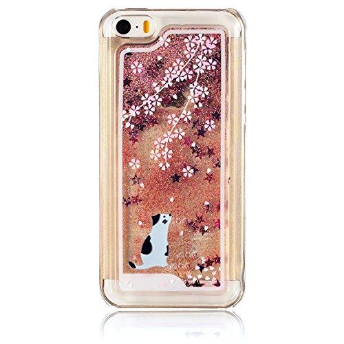 Coque pour iPhone 5C, iPhone 5C, 5C, iPhone 5C Boîtier PC, newstars Rose Motif floral paillettes cristal Blingbling [Fluide Liquide] flottante en caoutchouc transparent plaqué 3D PC PC Coque de pr White Cat,Pink