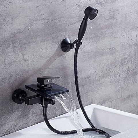 Tourmeler Alle Bronze Schwarz Matte Antique Design Into The Wall Typ Hot And Cold Wasser Wasserhahn Dusche Mattglas Wasserfall Wasser Outlet Zwei Badewanne Dusche (Mattglas Bad)