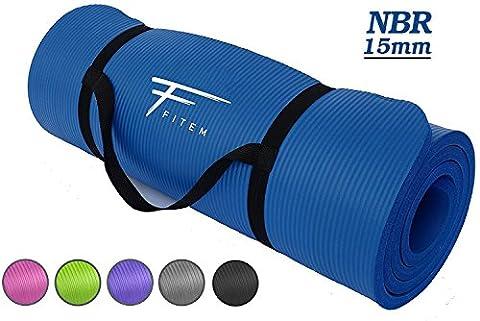 Fitem Tapis de Sol Bleu Ultra-Epais en Mousse Confort Haute Densité NBR - 183 x 60 x 1,5 cm - pour Gym,Yoga, Sport, Gymnastique, Fitness, Pilates, Musculation - Sangle de Transport Incluse